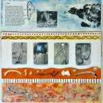 "A Bearing, Beeswax encaustic, photo transfers & mixed media on wood, 2011, 24"" x 24"" x 2"""