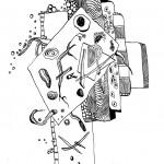 "Black ink on paper, 2008, 7"" x 7"""