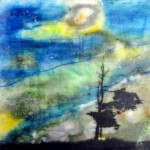 "Anchorage, Beeswax encaustic & photo transfer on wood, 2011, 8"" x 8"" x 1"" (Private Collection)"