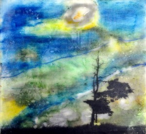 """Beeswax encaustic & photo transfer on wood, 2011, 8"""" x 8"""" x 1"""" (SOLD)"""