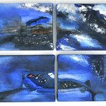 "Acrylic & mixed media on canvas, 2009, 12"" x 52"" x 1"", SOLD"