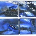 "Acrylic & mixed media on canvas, 2009, 12"" x 52"" x 1"", SOLD"