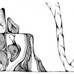 "Black ink on paper, 2003, 6.5"" x 4.5"""