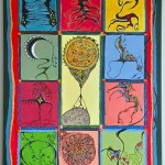 "Acrylic, beads, buttons, thread & quills on canvas, 2004, 20"" x 40"" (NFS)"