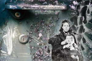 "Eliza Remembers, Digital Montage on Fine Art Paper on Wood, 2012, 6"" x 8"" x 1.5"""