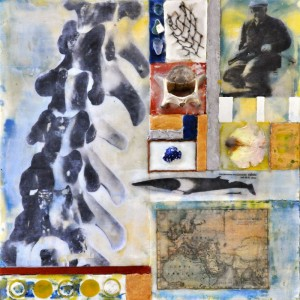 "Beeswax encaustic, photo transfers & mixed-media on wood panel, 2012, 12"" x 12"" x 1"""