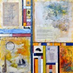 "Flotsam & Ephemeral #2 - Maps of the Found, Beeswax encaustic & mixed media on wood, 2012, 24"" x 24"" x 2"""