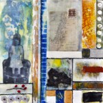 "Memory Transfer: Longing, Beeswax encaustic & mixed media on wood, 2012, 12"" x 12"" x 2"""