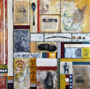 "Flotsam & Ephemera #3 - Seafaring Ancestors, Beeswax encaustic & mixed media on wood, 2012, 24"" x 24"" x 2"""