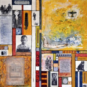 "Flotsam & Ephemera #4 - Biography, Beeswax encaustic & mixed media on wood, 2012, 24"" x 24"" x 3"" (Not for Sale)"