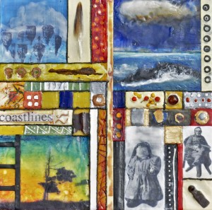 "Beeswax encaustic, photo transfers & mixed-media on wood panel, 2012, 12"" x 12"" x 2"""