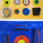 "Four Square, Beeswax encaustic & mixed media on wood, 2011, 12"" x 48"" x 2"", (SOLD)"