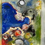"Full Moon Rising, Beeswax encaustic on wood, 2007, 24"" x 24"" x 2"""