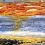 "Horizons #1, Beeswax encaustic on wood, 2011, 48"" x 12"" x 2"", (SOLD)"