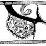 "Black ink on paper, 2003, 3"" x 4"""