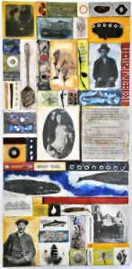 "Memory Transfer: I Wrote My Life in Sand, Beeswax encaustic & mixed media on wood, 2012, 11.5""x 24 ""x 2"""
