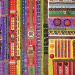 "Acrylic, beads, buttons and quills on canvas, 2002, 8"" x 16"""