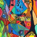 "Acrylic and mixed media on canvas, 2004, 9"" x 12"""