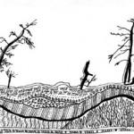 "Black ink on paper, 2003, 6.5"" x 3"""