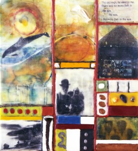 "Beeswax encaustic, photo transfers & mixed-media on wood, 2012, 10"" x 11"" x 1"""