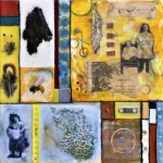 "Beeswax encaustic & mixed media on wood, 2012, 12"" x 12"" x 2"""