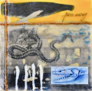 "Beeswax encaustic, photo transfers & mixed-media on wood panel, 2012, 6"" x 6"" x 1"""