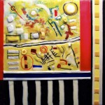 "Remembering Modernism, Beeswax encaustic on wood, 2012, 12"" x 12"" x 1"", (SOLD)"