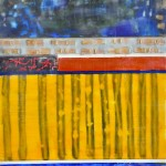 "Music in the City, Beeswax encaustic & mixed media on wood, 2011, 11.5"" x 24"" x 2"""