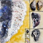 "Beachingcombing: Mussel, Beeswax encaustic & mixed media on wood, 2011, 12"" x 12"" x 2"" (Private Collection)"