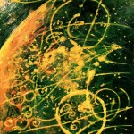 "Origins #4, Beeswax encaustic on wood, 2006, 24"" x 24"" x 3"", SOLD"