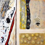 "Beachcombing: Pebbles, Beeswax encaustic & mixed media on wood, 2011, 12"" x 12"" x 2"" (Private Collection)"