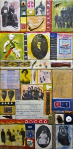 "Beeswax encaustic, photo transfers & mixed-media on wood, 2012, 12"" x 24"" x 2"""