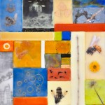 "Memory Transfer: The Rime, Beeswax encaustic & mixed media on wood panel, 2011, 12"" x 24"" x 2"""