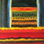 "Acrylic and beads on canvas, 2004, 10"" x 10"""
