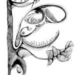 "Black ink on paper, 2003, 5"" x 7"""