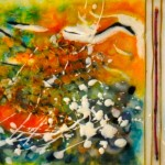 "Under the Sea, Beeswax encaustic & mixed media on wood, 2011, 6"" x 26"" x 1"", (SOLD)"
