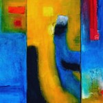 "Acrylic and mixed media on canvas, 2007, 21"" x 10"" (triptych)"