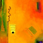 "Acrylic and mixed media on canvas, 2007, 10"" x 20"""