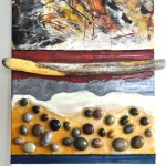 "Beachcombing: Whale Cove Witness, Beeswax encaustic & mixed media on wood, 2012, 12"" x 24"" x 2"" (Private Collection)"