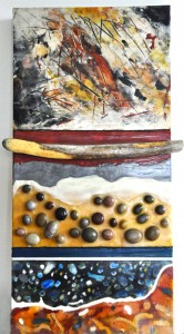 "Beeswax encaustic & mixed-media on wood panel, 2012, 12"" x 24"" x 2"""