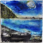 "The Dory, Beeswax encaustic & photo transfer on wood, 2011, 8"" x 9"" x 2"" (Private collection)"