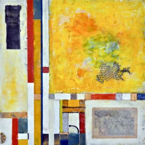 "Flotsam & Ephemera #1 - Maps for the Lost, Beeswax encaustic & mixed media on wood, 2012, 24"" x 24"" x 3"""