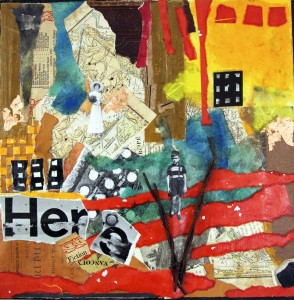 """Mixed media collage on wood panel, 2013, 12"""" x 12"""" x 1"""""""