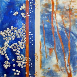 "At the Edge, Beeswax encaustic on wood, 2012, 24"" x 24"" x 2"", (SOLD)"