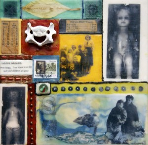 "Beeswax encaustic, photo transfers & mixed-media on wood, 2012, 8"" x 8"" x 1"""