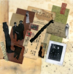 "Collecting the Pieces #1: Looking Back, Beeswax encaustic collage on wood, 2013, 12"" x 12"" x 1"""