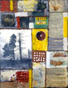 "Beeswax encaustic & mixed-media on wood panel, 2013, 11"" x 14"" x 1"""