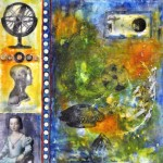 "Memory Transfer: Loss & Discovery, Beeswax encaustic & mixed media on wood, 2013, 16"" x 16"" x 2"""