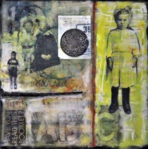"Beeswax encaustic & mixed-media on wood, 2013, 6"" x 6"" x 1"""