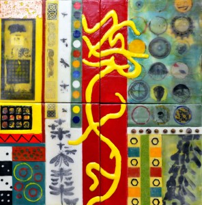 "Beeswax encaustic & mixed media on wood, 2014, 20"" x 20"" x 2"""